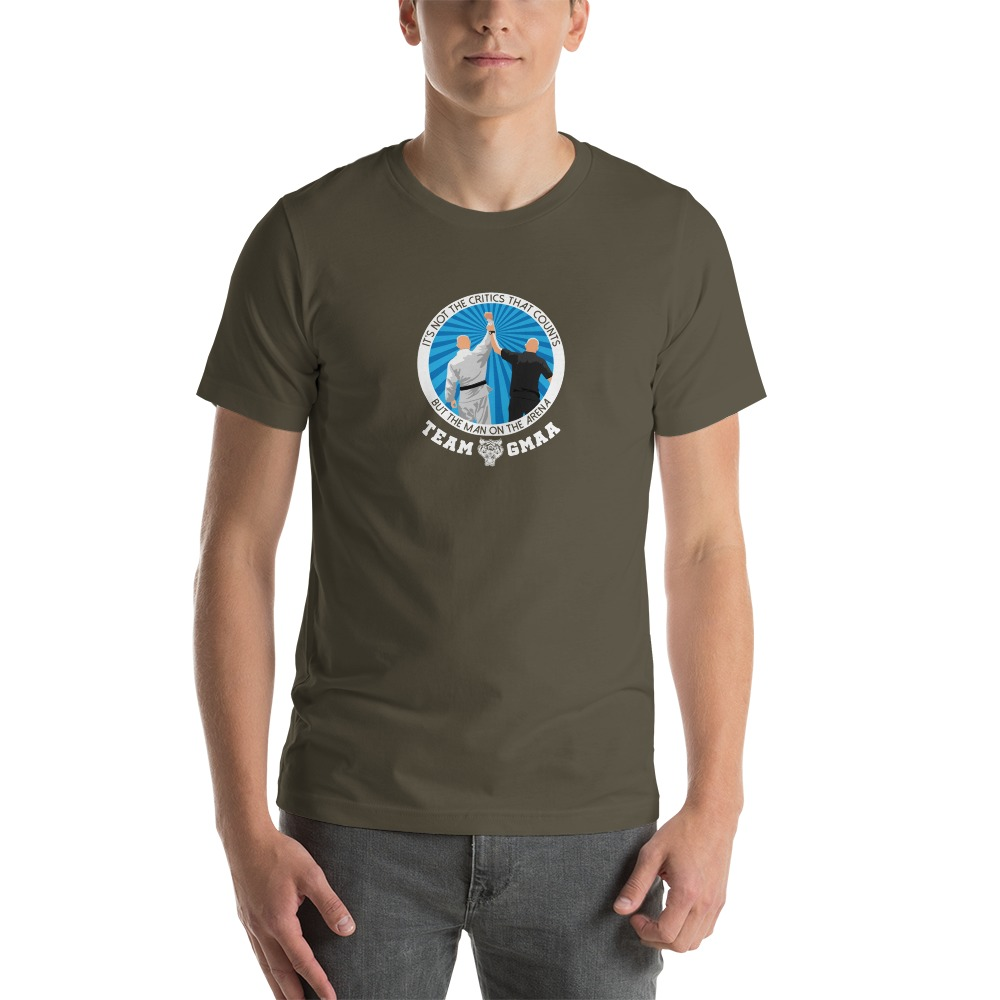 Goulburn Martial Arts Academy Men's T-Shirt, White and Blue Logo