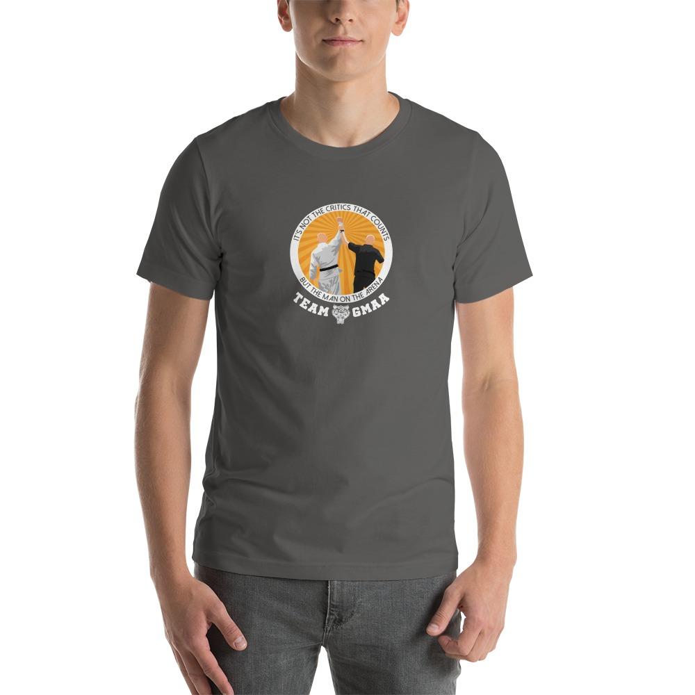 Goulburn Martial Arts Academy Men's T-Shirt, White and Gold Logo