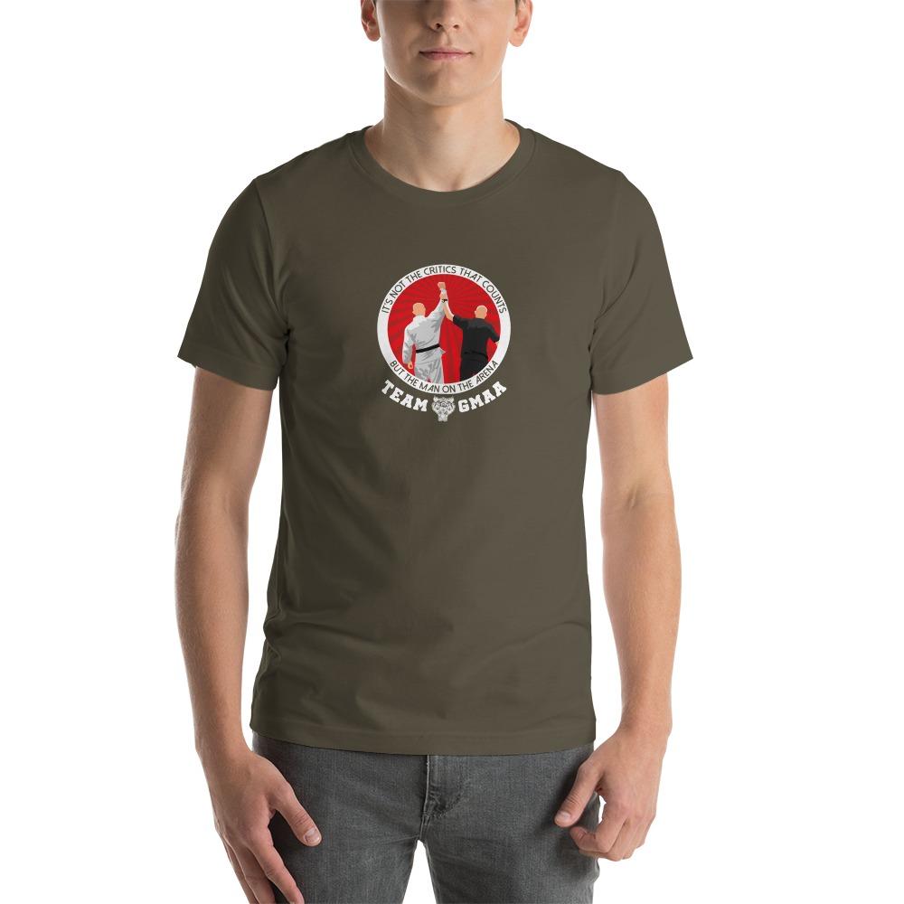 Goulburn Martial Arts Academy Men's T-Shirt, White and Red Logo