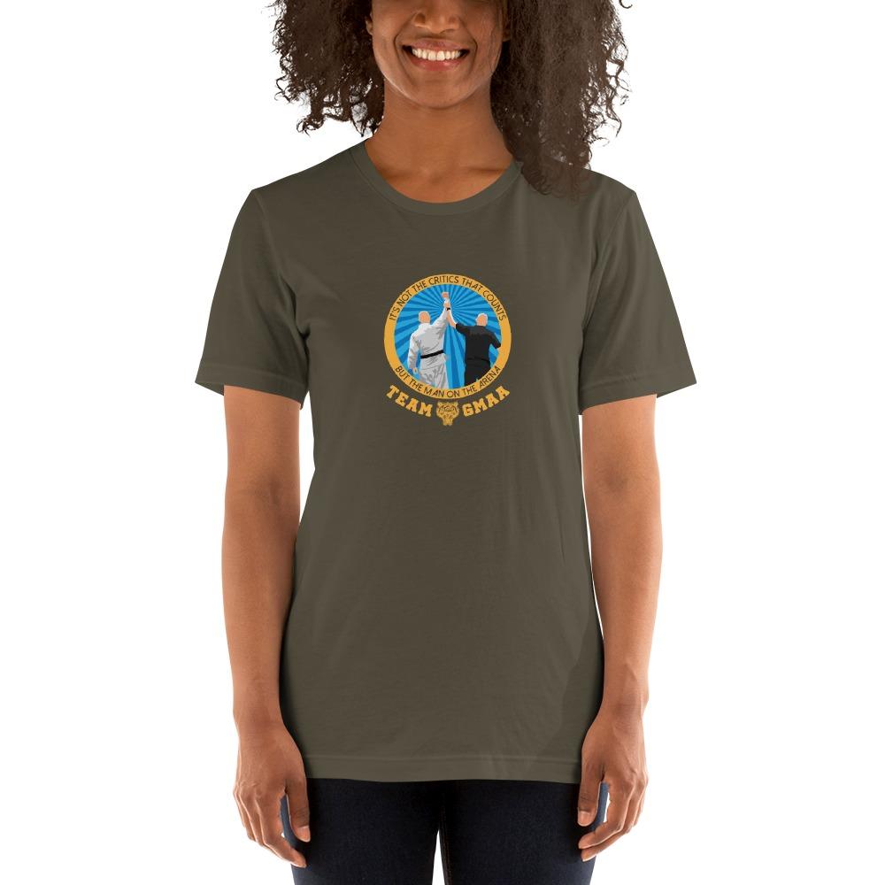 Goulburn Martial Arts Academy Women's T-Shirt, Gold and Blue Logo