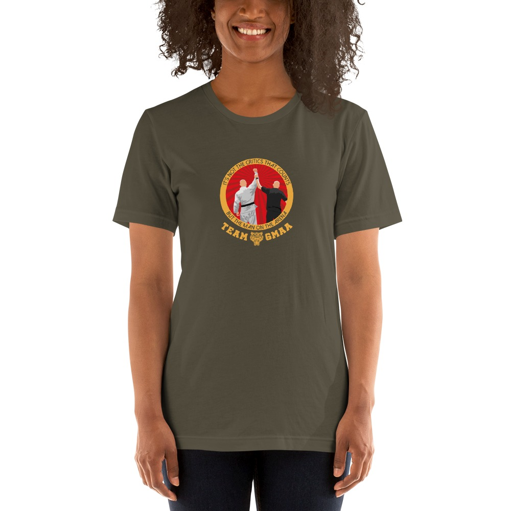 Goulburn Martial Arts Academy Women's T-Shirt, Gold and Red Logo