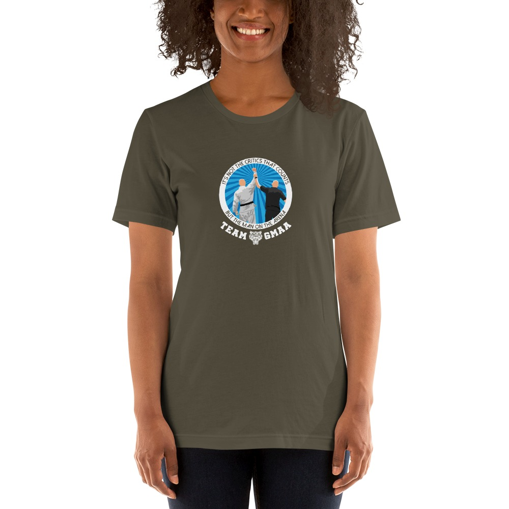 Goulburn Martial Arts Academy Women's T-Shirt, White and Blue Logo