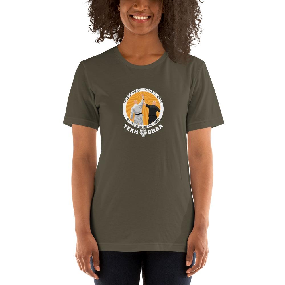 Goulburn Martial Arts Academy Women's T-Shirt, White and Gold Logo