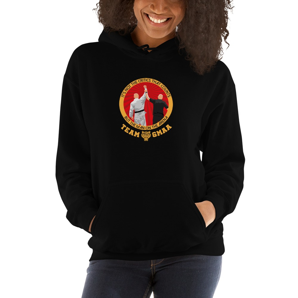 Goulburn Martial Arts Academy Women's Hoodie, Gold and Red Logo