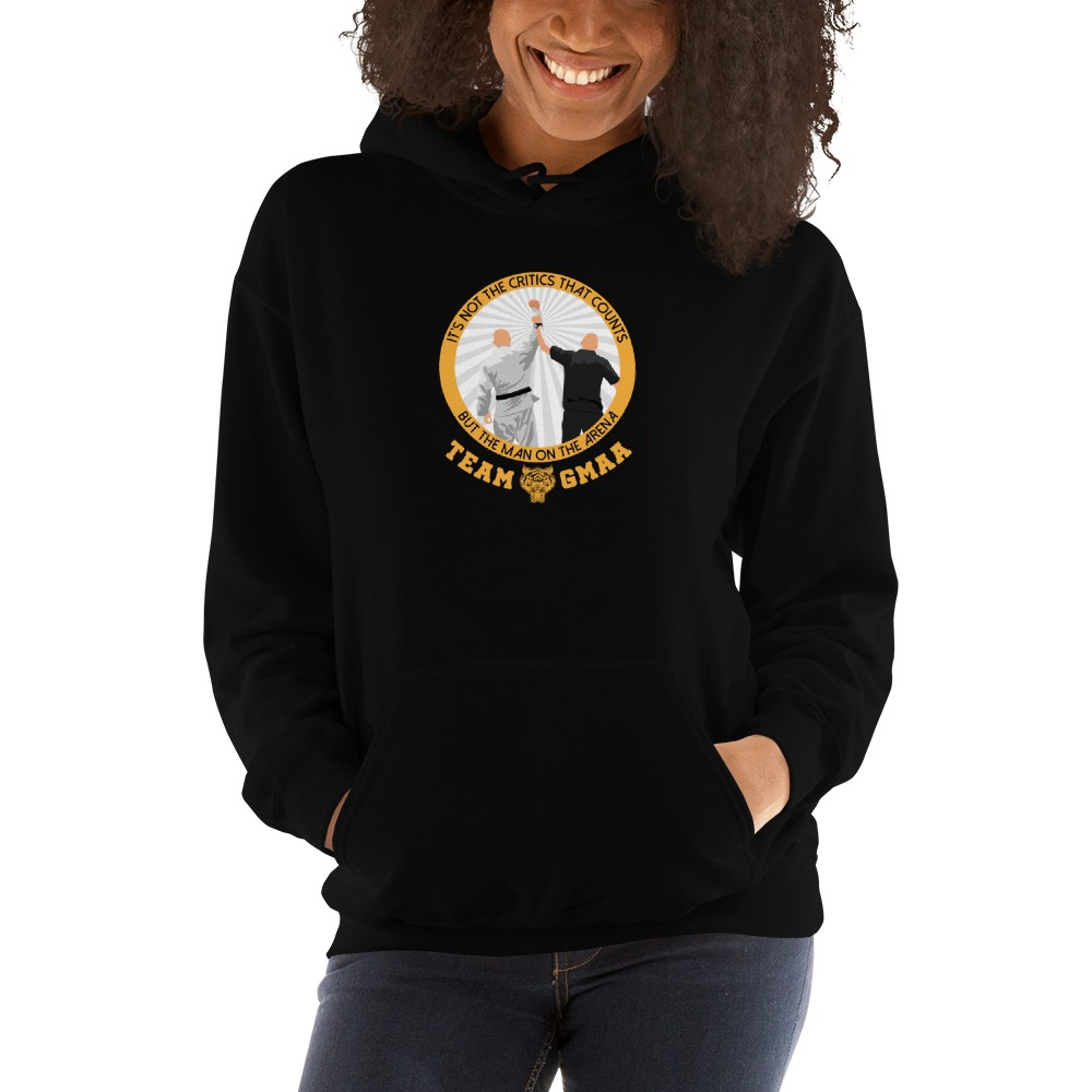 Goulburn Martial Arts Academy Women's Hoodie, Gold and White Logo