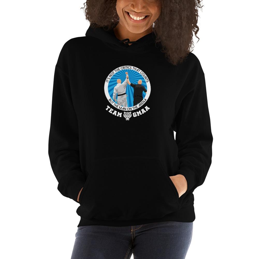 Goulburn Martial Arts Academy Women's Hoodie, White and Blue Logo
