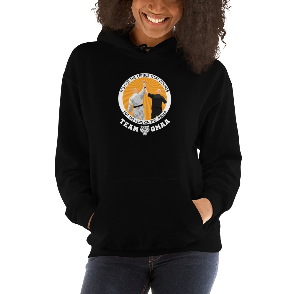 Goulburn Martial Arts Academy Women's Hoodie, White and Gold Logo