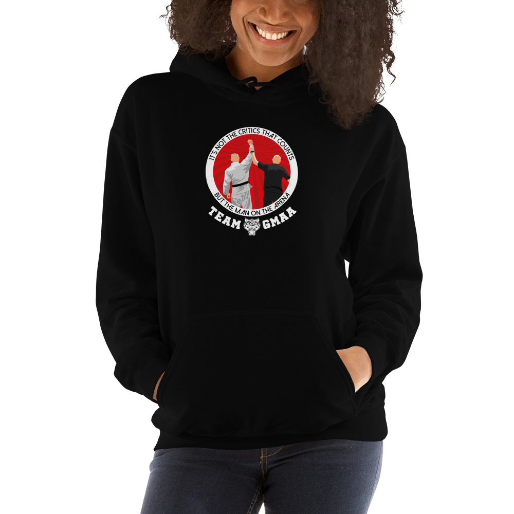 Goulburn Martial Arts Academy Women's Hoodie, White and Red Logo