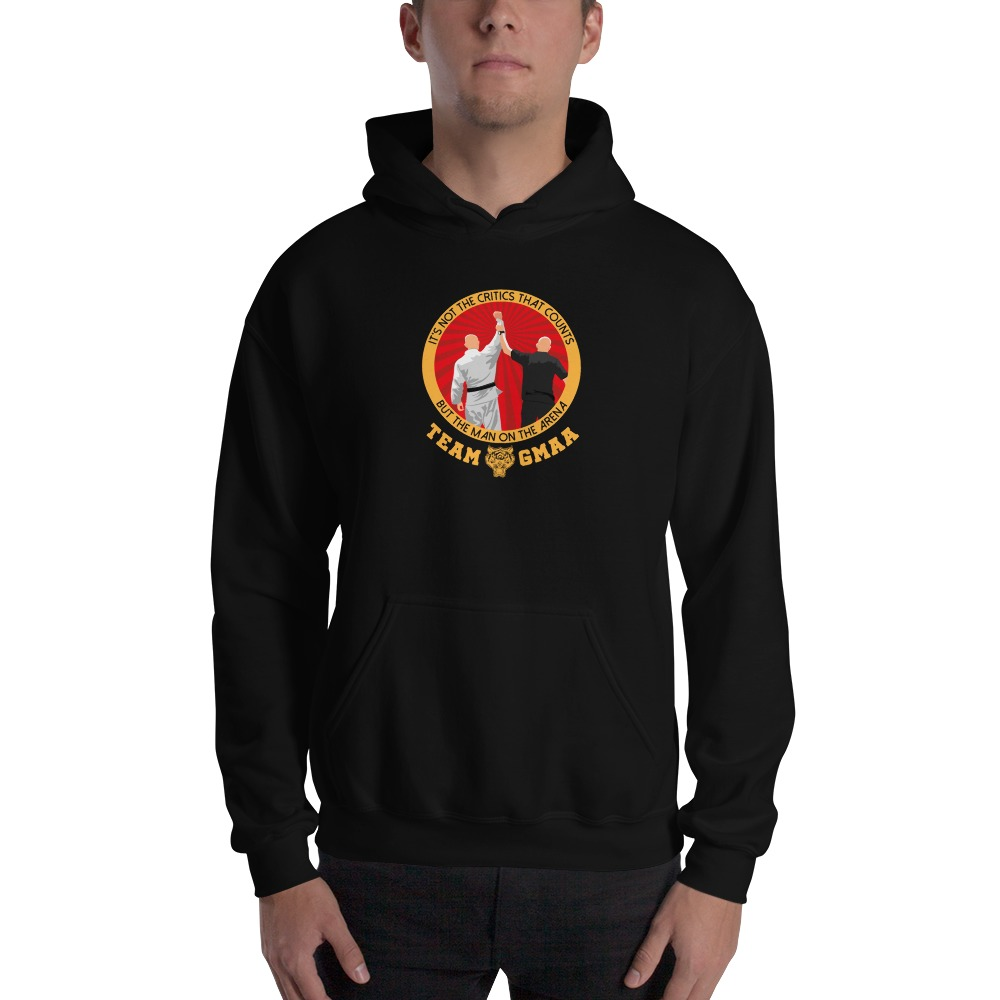 Goulburn Martial Arts Academy Men's Hoodie, Gold and Red Logo