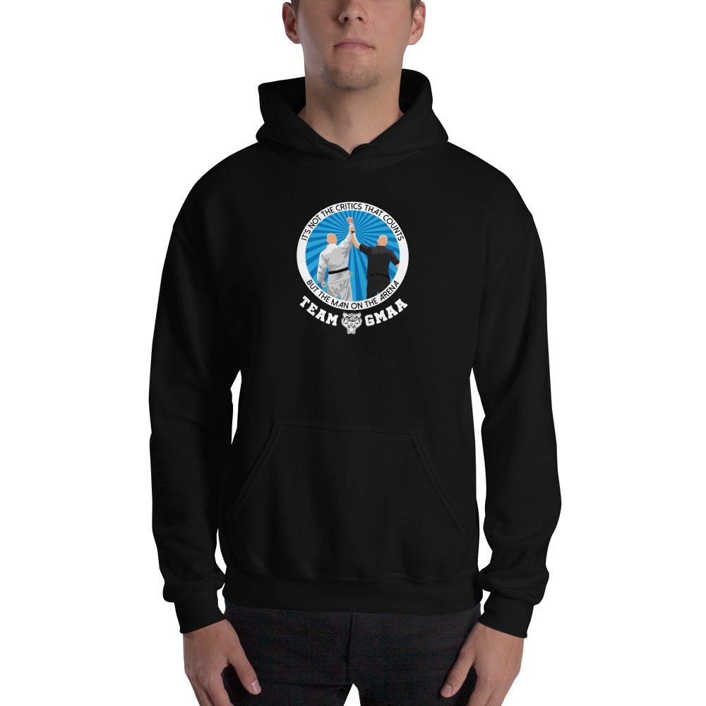 Goulburn Martial Arts Academy Men's Hoodie, White and Blue Logo