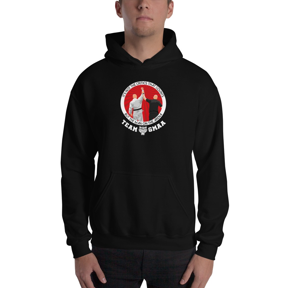 Goulburn Martial Arts Academy Men's Hoodie, White and Red Logo