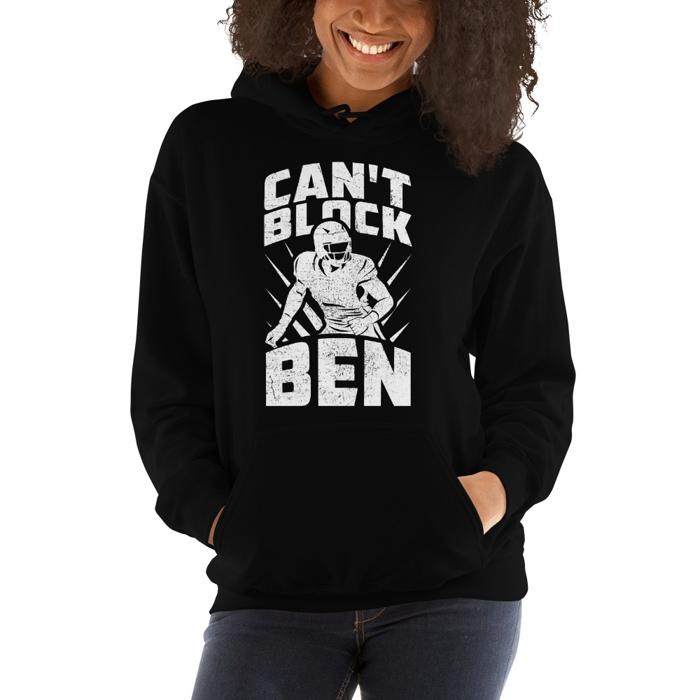 """Can't Block Ben"" by Ben Desmarais Women's Hoodie, White Logo"
