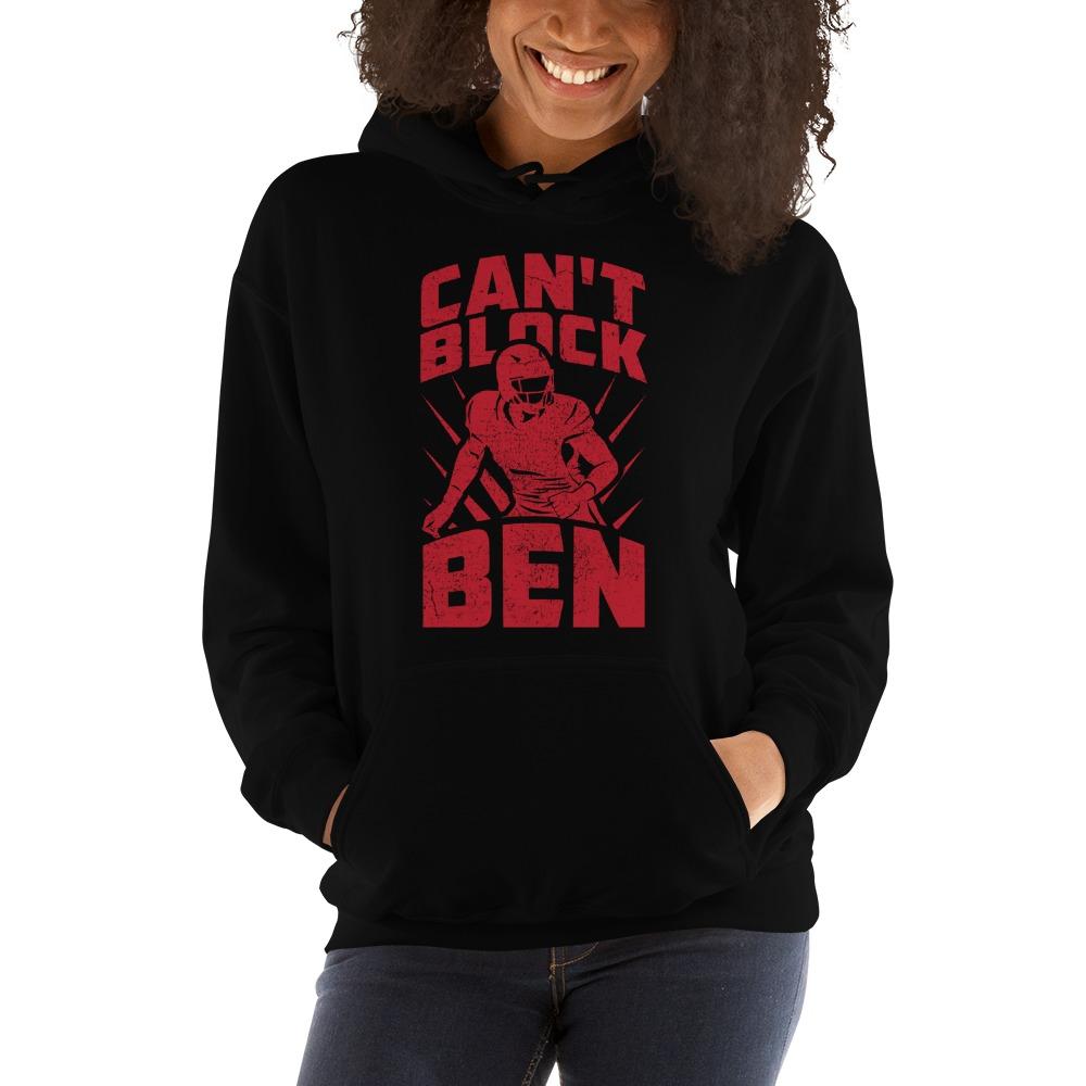 """Can't Block Ben"" by Ben Desmarais Women's Hoodie, Red Logo"