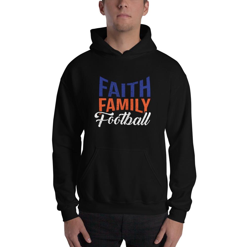 Faith, Family and Football by Coleman Bennett, Men's Hoodie, White Logo