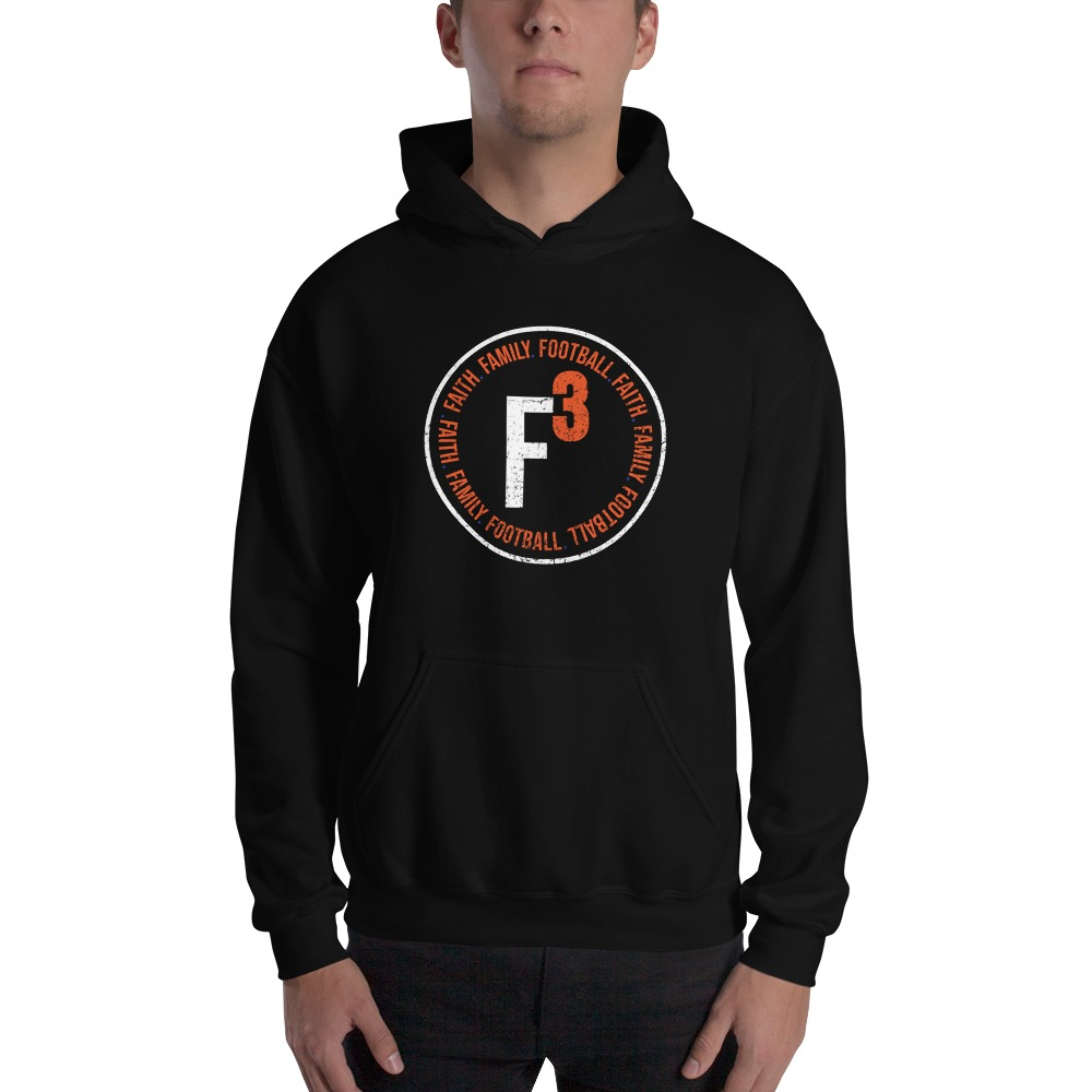 Faith, Family and Football by Coleman Bennett, Men's Hoodie, Circle Logo, White