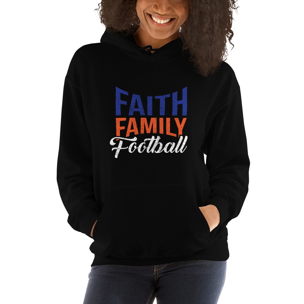 Faith, Family and Football by Coleman Bennett, Women's Hoodie, White Logo