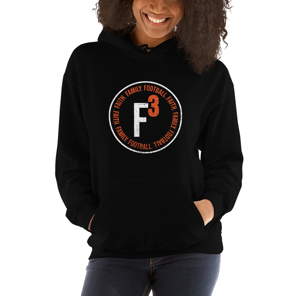 Faith, Family and Football by Coleman Bennett, Women's Hoodie, Circle Logo, White