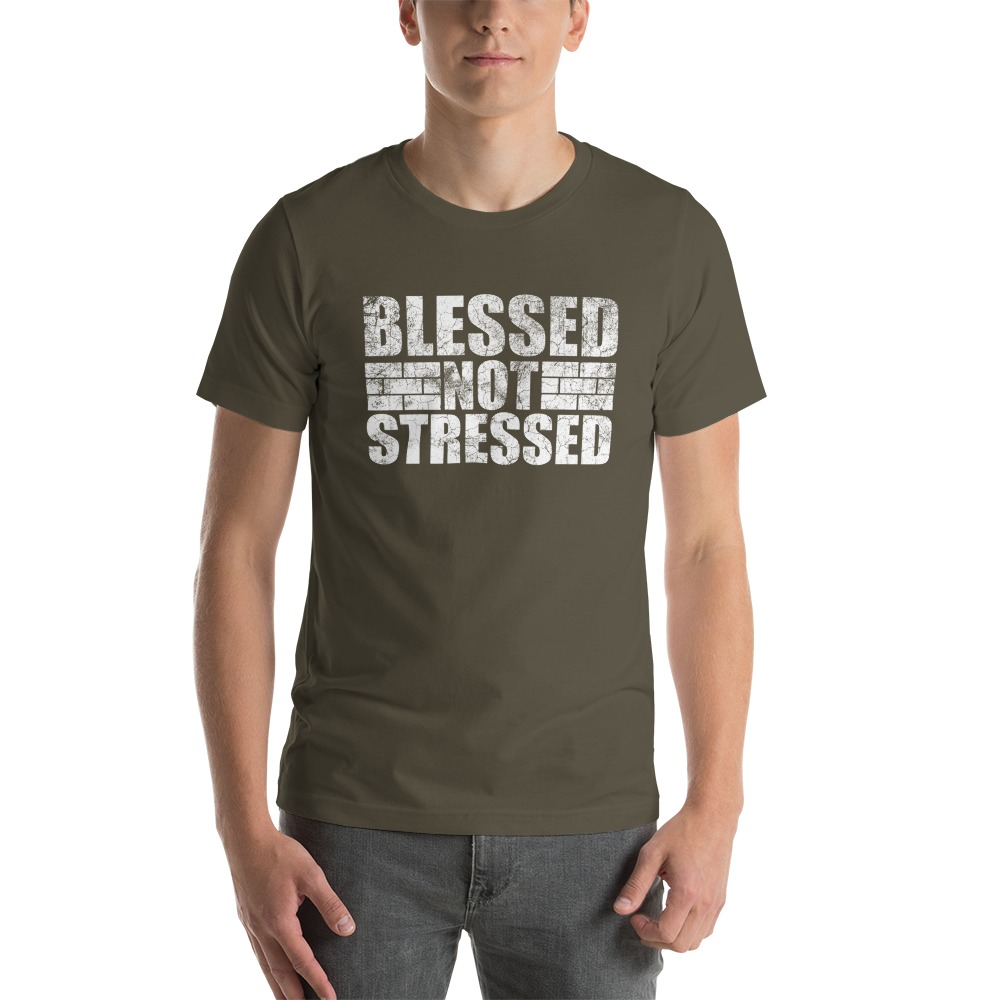 Blessed Not Stressed by Aaron Olivares, Men's T-Shirt, White Logo