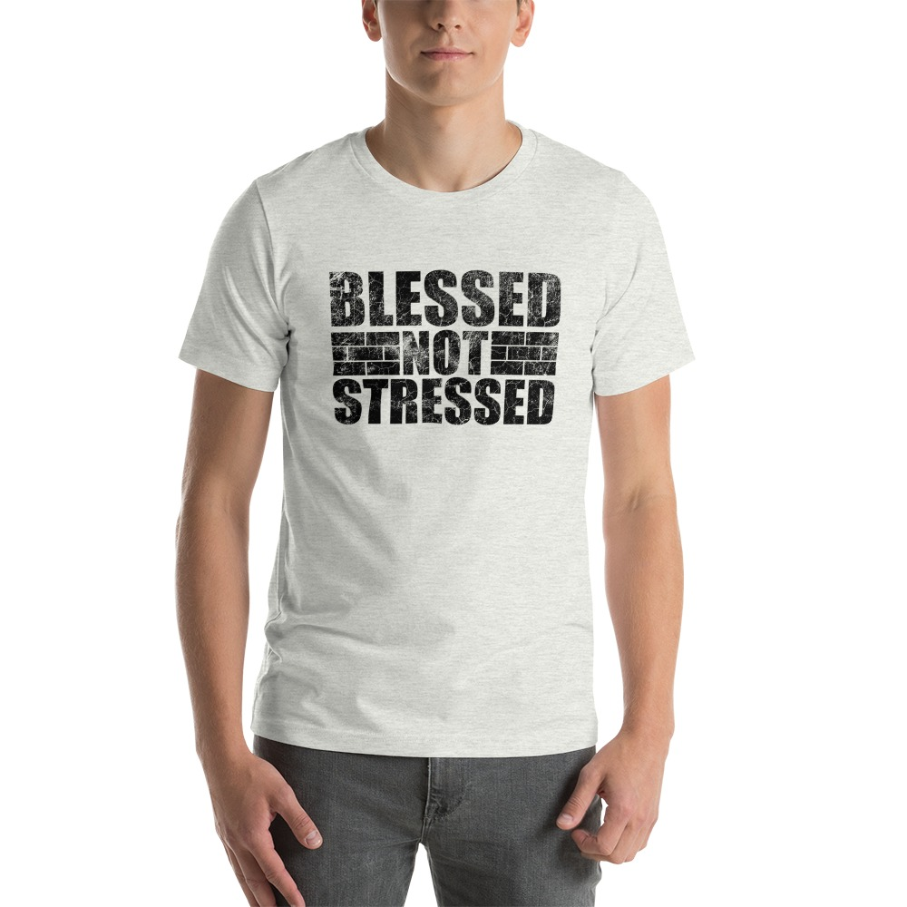 Blessed Not Stressed by Aaron Olivares, Men's T-Shirt, Black Logo