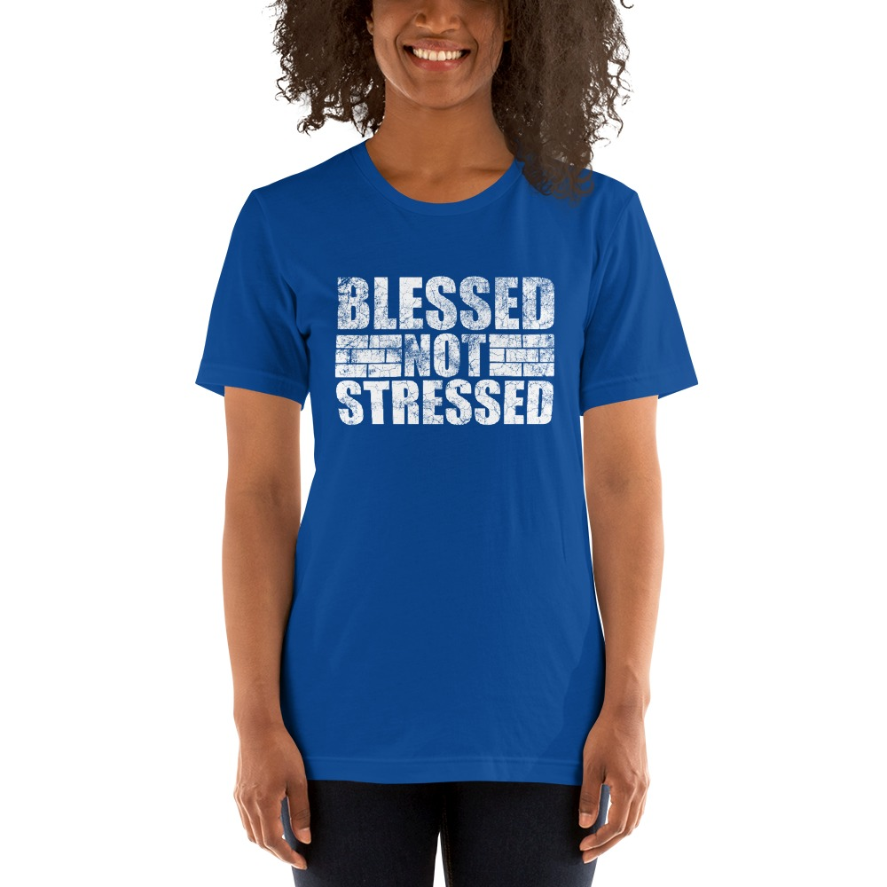 Blessed Not Stressed by Aaron Olivares, Women's T-Shirt, White Logo