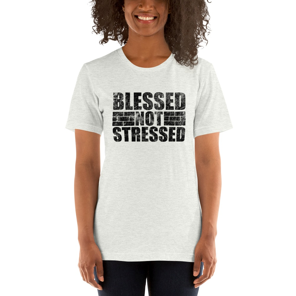 Blessed Not Stressed by Aaron Olivares, Women's T-Shirt, Black Logo