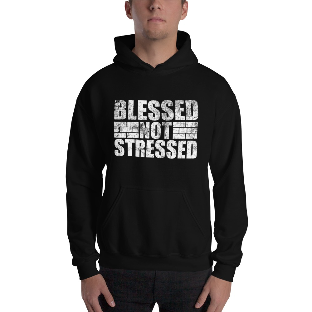 Blessed Not Stressed by Aaron Olivares, Men's Hoodie, White Logo