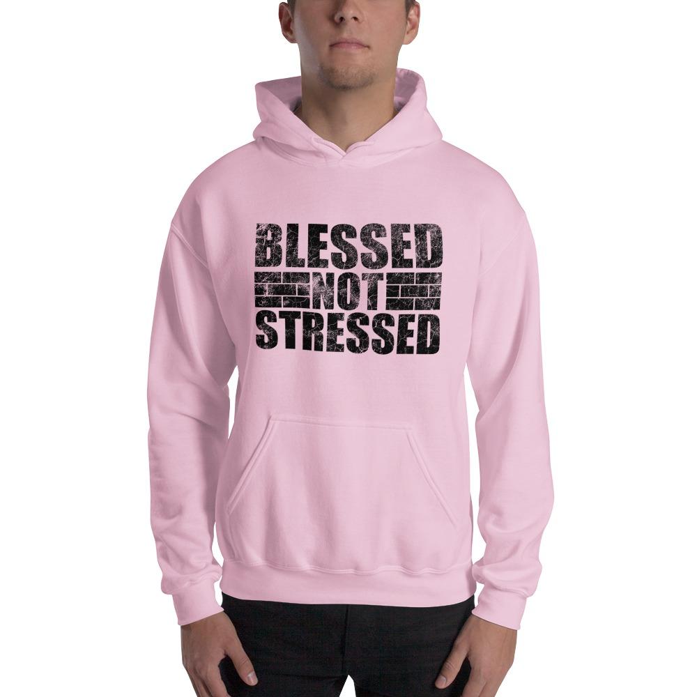 Blessed Not Stressed by Aaron Olivares, Men's Hoodie, Black Logo
