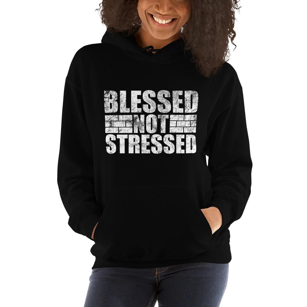 Blessed Not Stressed by Aaron Olivares, Women's Hoodie, White Logo