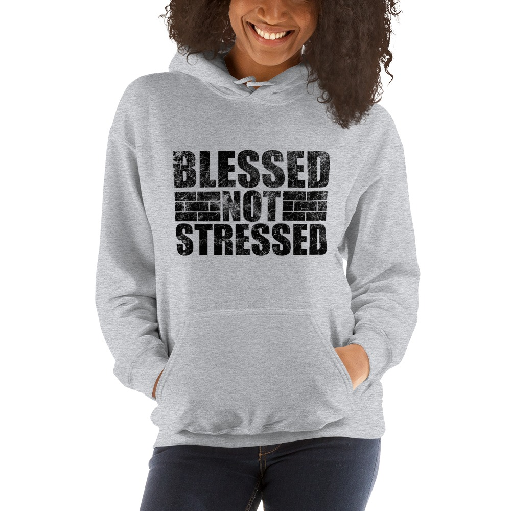 Blessed Not Stressed by Aaron Olivares, Women's Hoodie, Black Logo