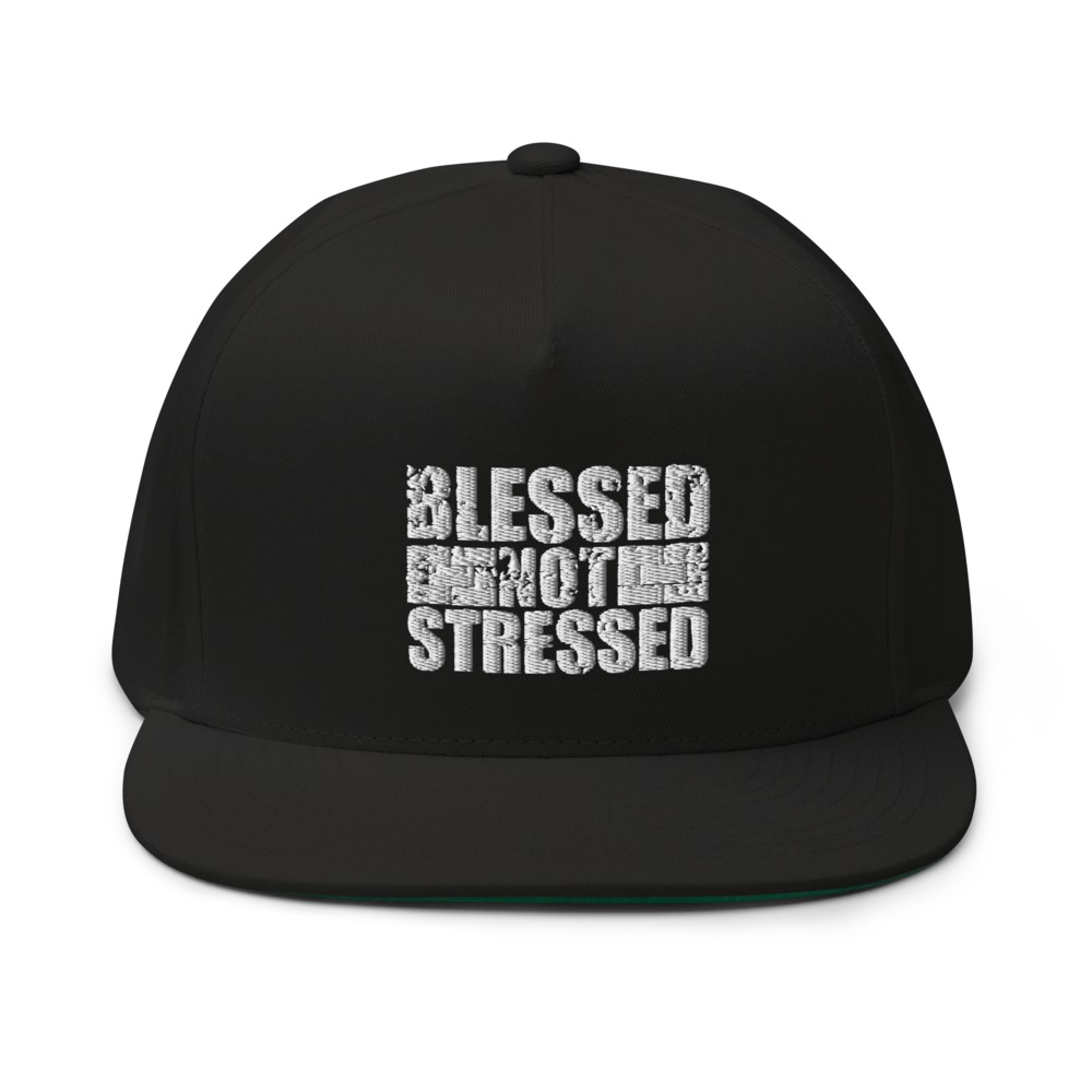 Blessed Not Stressed by Aaron Olivares, Hat, White Logo